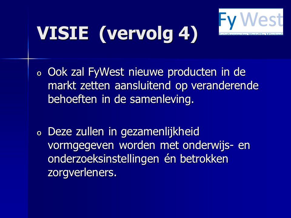 VISIE (vervolg 4) Ook zal FyWest nieuwe producten in de markt zetten aansluitend op veranderende behoeften in de samenleving.