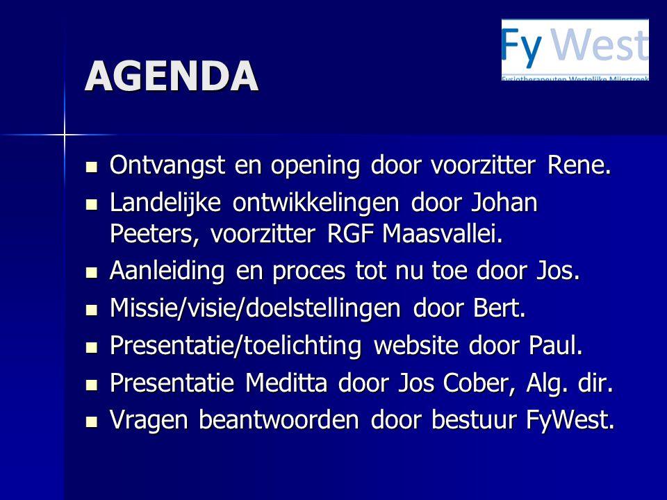 AGENDA Ontvangst en opening door voorzitter Rene.