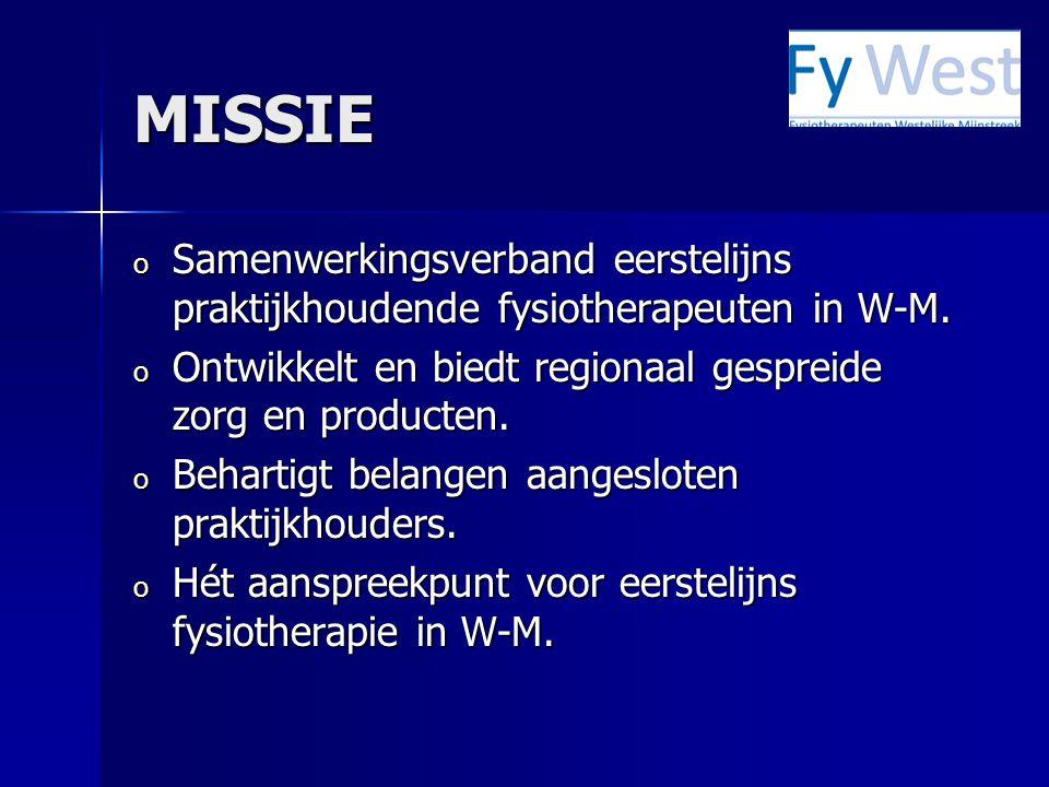 MISSIE Samenwerkingsverband eerstelijns praktijkhoudende fysiotherapeuten in W-M. Ontwikkelt en biedt regionaal gespreide zorg en producten.