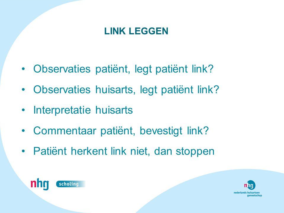 Observaties patiënt, legt patiënt link