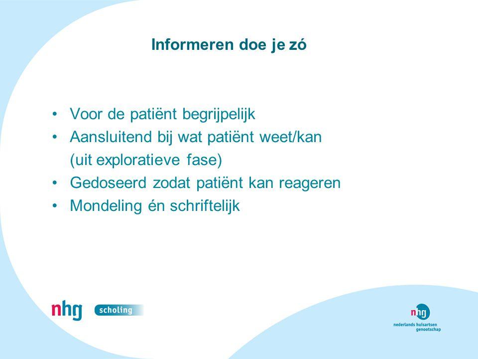 Informeren doe je zó Voor de patiënt begrijpelijk. Aansluitend bij wat patiënt weet/kan. (uit exploratieve fase)