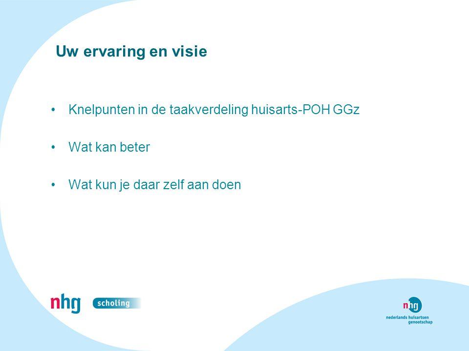 Uw ervaring en visie Knelpunten in de taakverdeling huisarts-POH GGz
