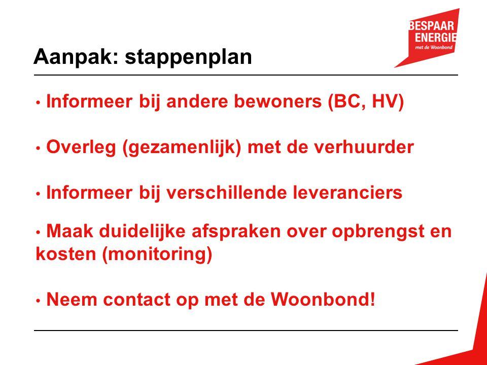 Aanpak: stappenplan Informeer bij andere bewoners (BC, HV)