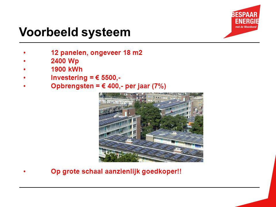 Voorbeeld systeem 12 panelen, ongeveer 18 m2 2400 Wp 1900 kWh
