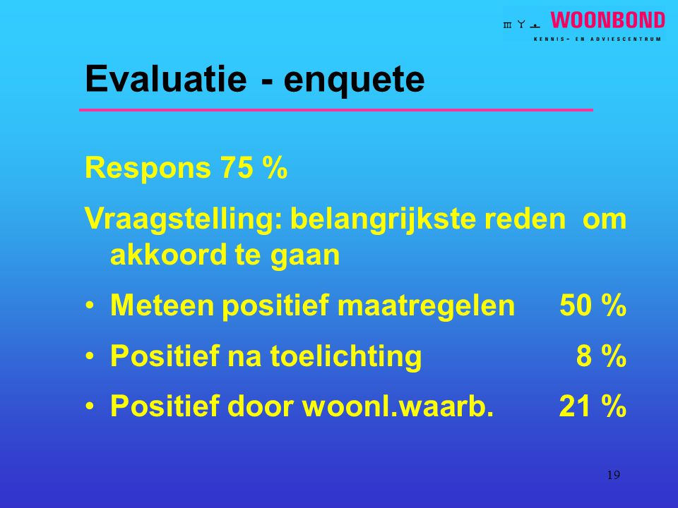 Evaluatie - enquete Respons 75 %