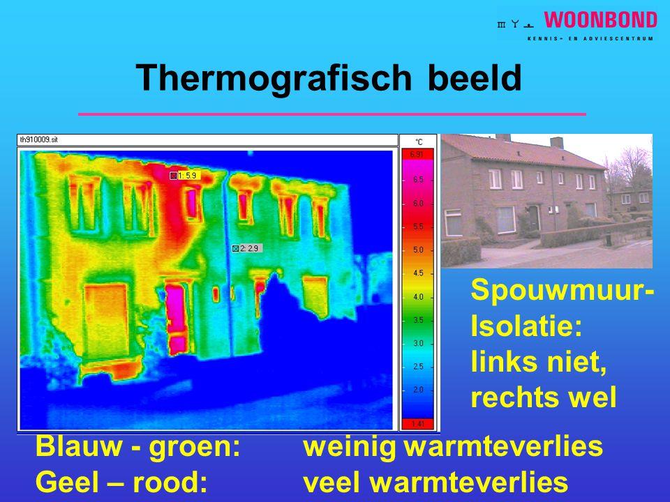 Thermografisch beeld Spouwmuur- Isolatie: links niet, rechts wel