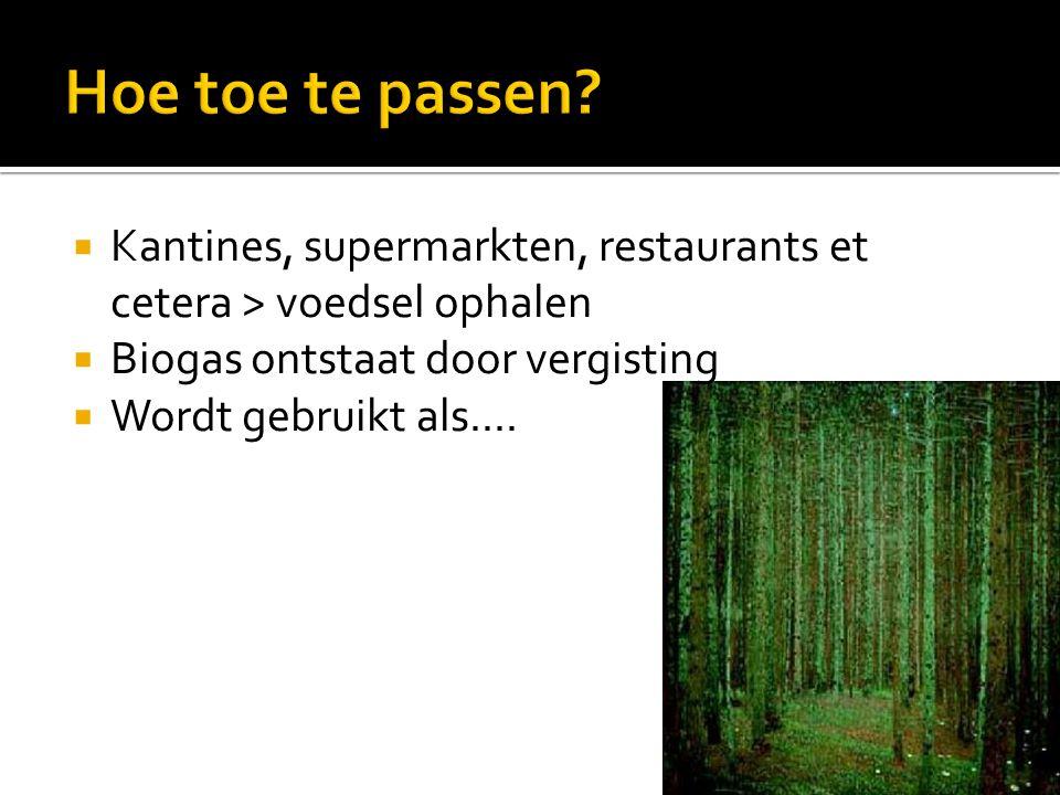 Hoe toe te passen Kantines, supermarkten, restaurants et cetera > voedsel ophalen. Biogas ontstaat door vergisting.