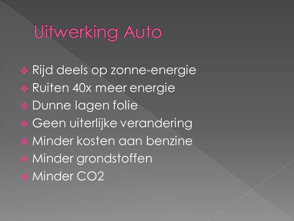 Uitwerking Auto Rijd deels op zonne-energie Ruiten 40x meer energie