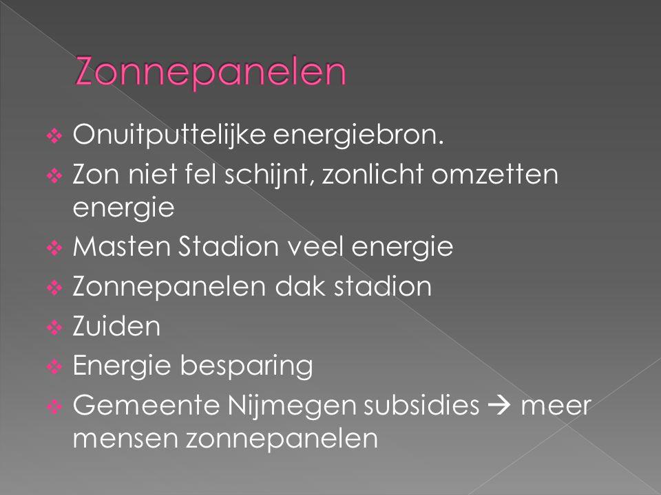 Zonnepanelen Onuitputtelijke energiebron.