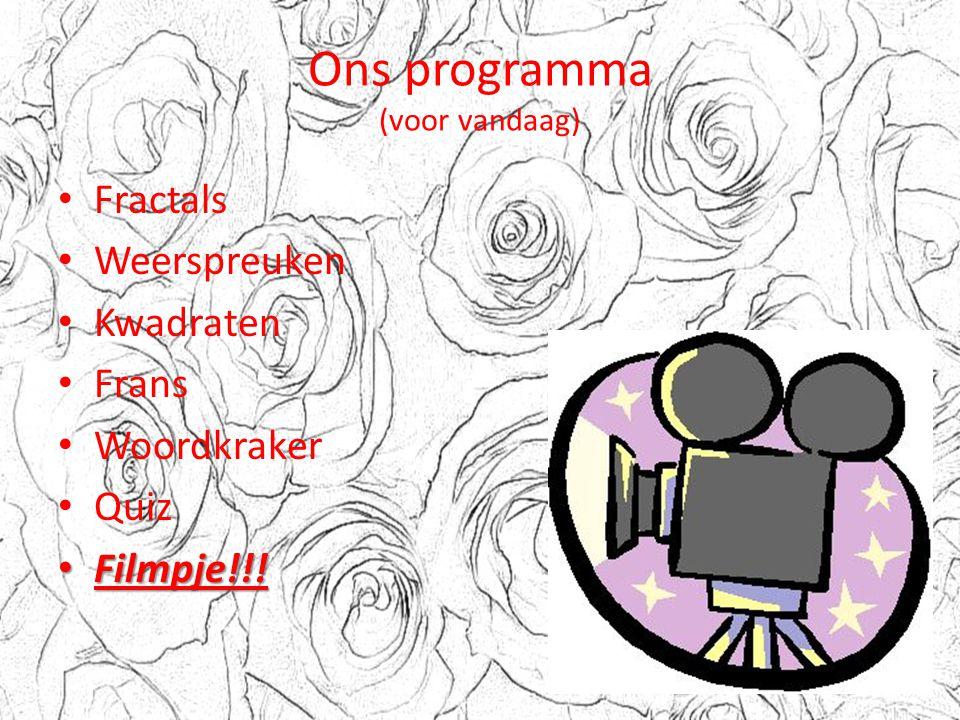 Ons programma (voor vandaag)