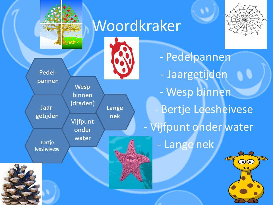 Woordkraker - Pedelpannen - Jaargetijden - Wesp binnen - Bertje Leesheivese - Vijfpunt onder water - Lange nek