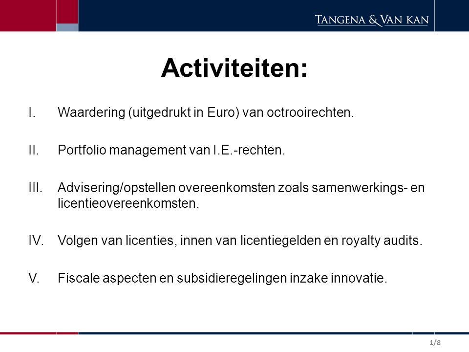 Activiteiten: Waardering (uitgedrukt in Euro) van octrooirechten.