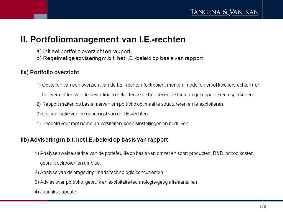 II. Portfoliomanagement van I.E.-rechten