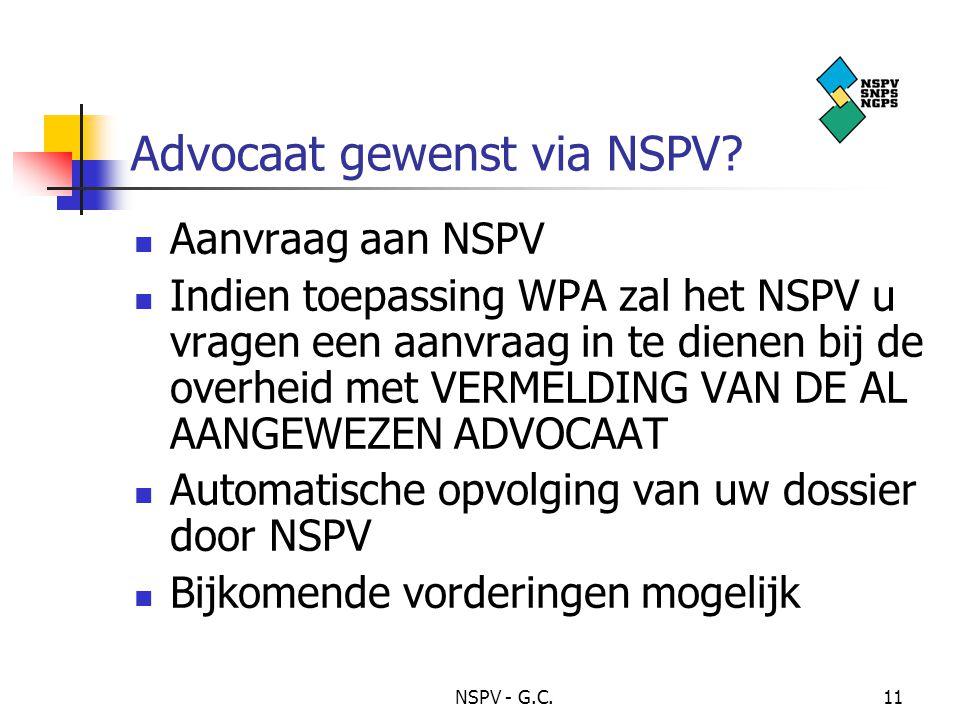 Advocaat gewenst via NSPV