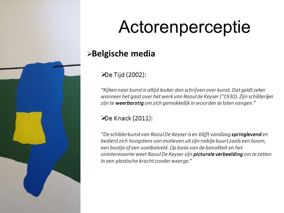 Actorenperceptie Belgische media De Tijd (2002): De Knack (2011):