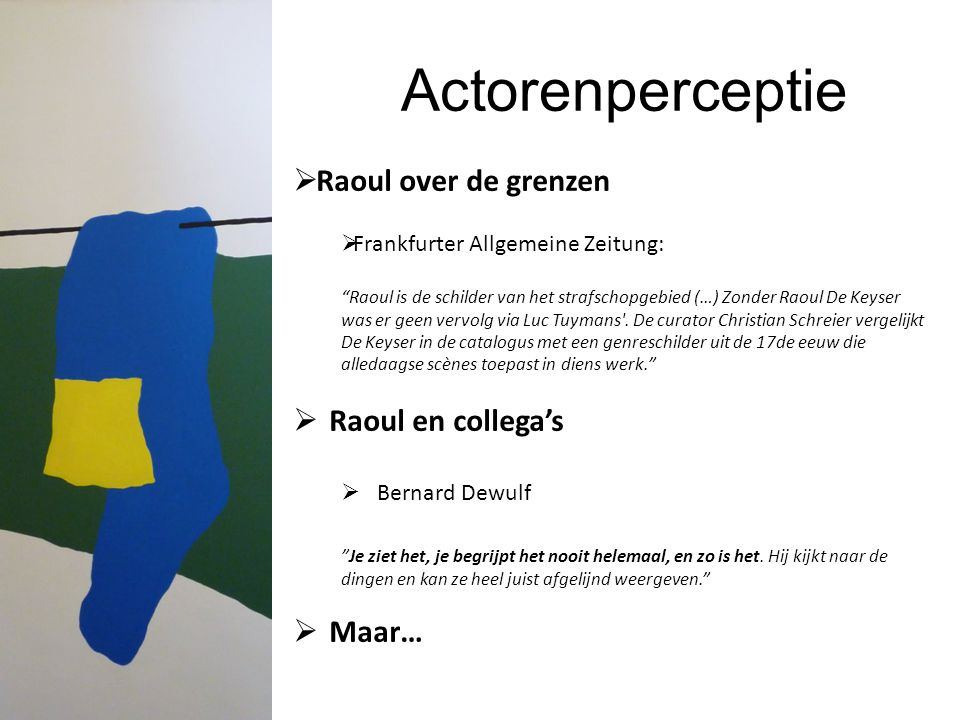 Actorenperceptie Raoul over de grenzen Raoul en collega's