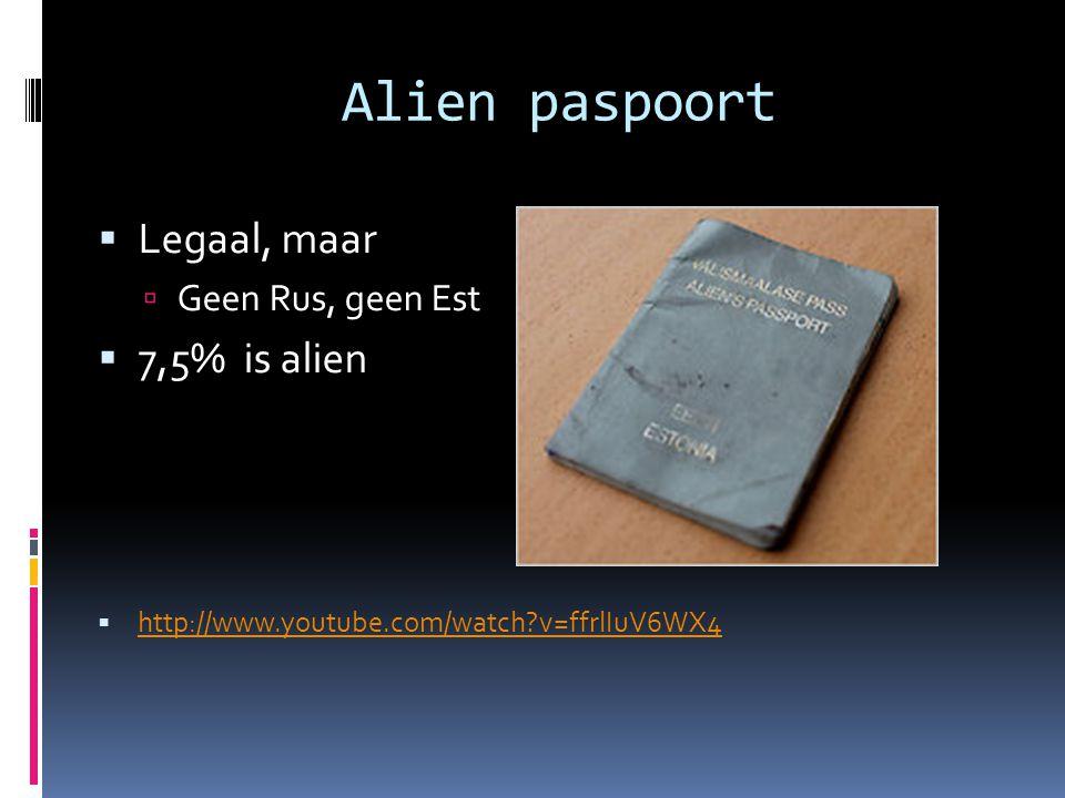 Alien paspoort Legaal, maar 7,5% is alien Geen Rus, geen Est