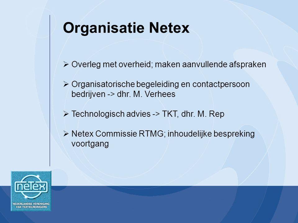 Organisatie Netex Overleg met overheid; maken aanvullende afspraken