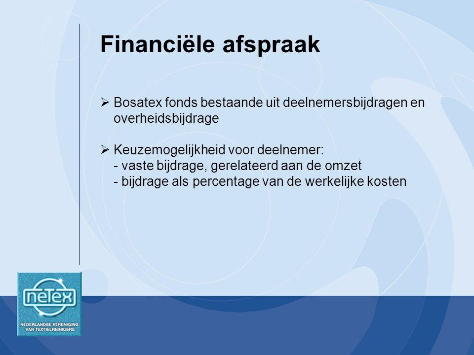 Financiële afspraak Bosatex fonds bestaande uit deelnemersbijdragen en overheidsbijdrage.