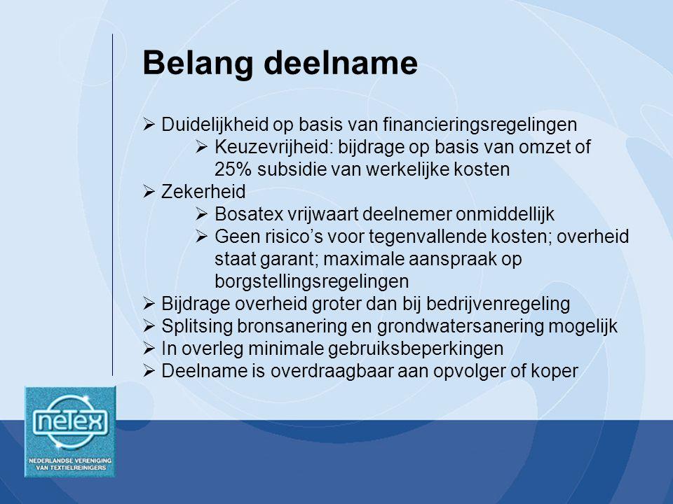 Belang deelname Duidelijkheid op basis van financieringsregelingen