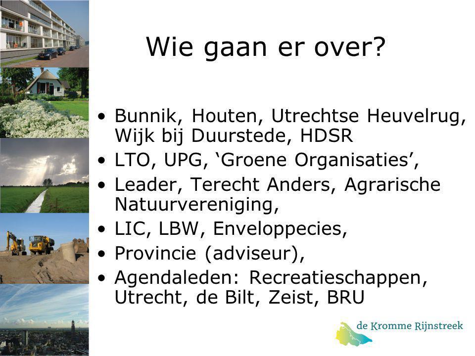 Wie gaan er over Bunnik, Houten, Utrechtse Heuvelrug, Wijk bij Duurstede, HDSR. LTO, UPG, 'Groene Organisaties',