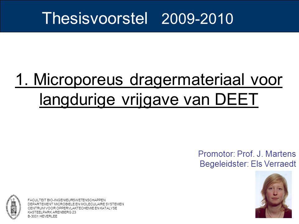 1. Microporeus dragermateriaal voor langdurige vrijgave van DEET