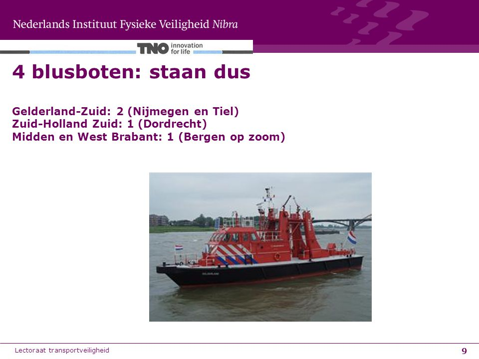 4 blusboten: staan dus Gelderland-Zuid: 2 (Nijmegen en Tiel) Zuid-Holland Zuid: 1 (Dordrecht) Midden en West Brabant: 1 (Bergen op zoom)