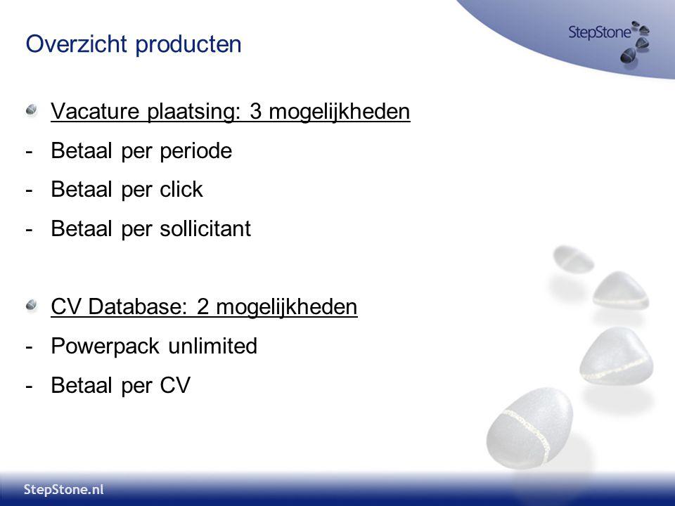 Overzicht producten Vacature plaatsing: 3 mogelijkheden