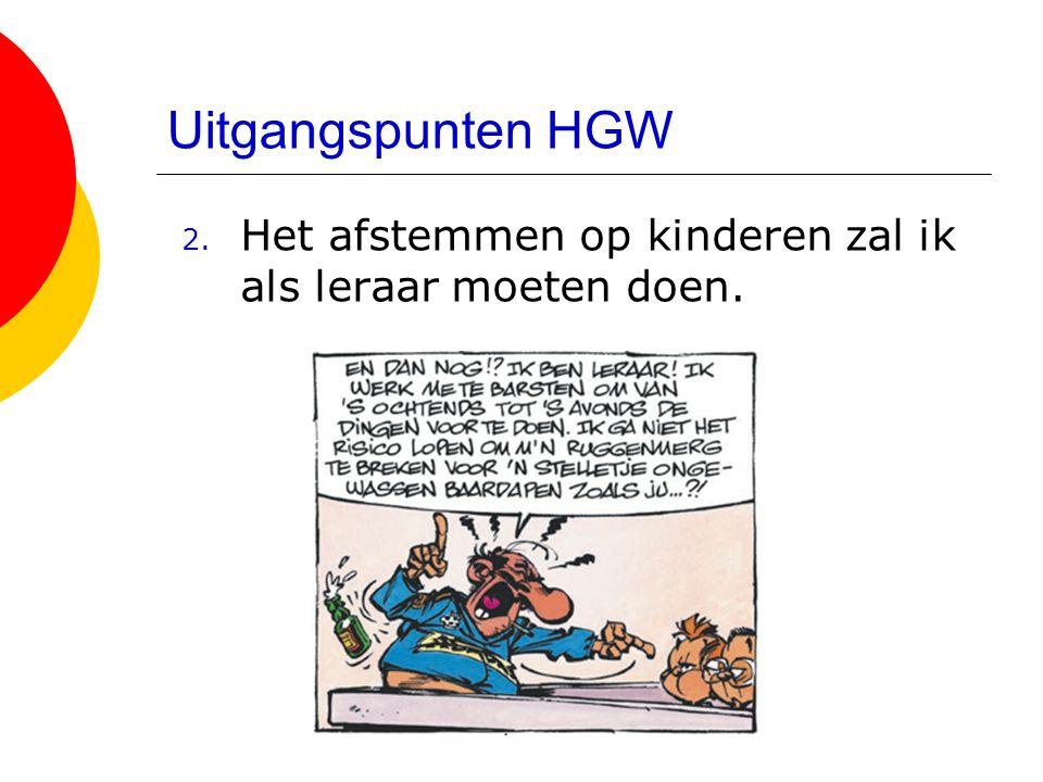 Uitgangspunten HGW Het afstemmen op kinderen zal ik als leraar moeten doen.
