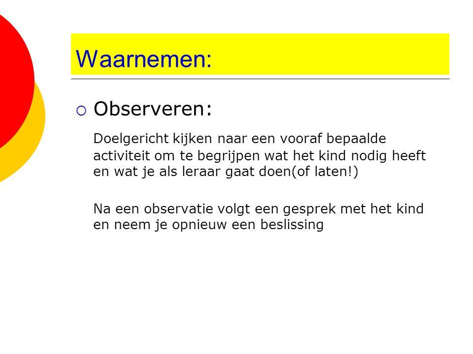 Waarnemen: Observeren: