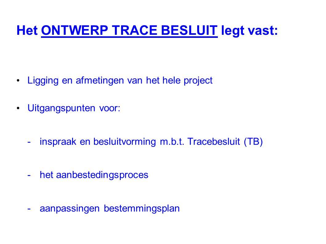 Het ONTWERP TRACE BESLUIT legt vast: