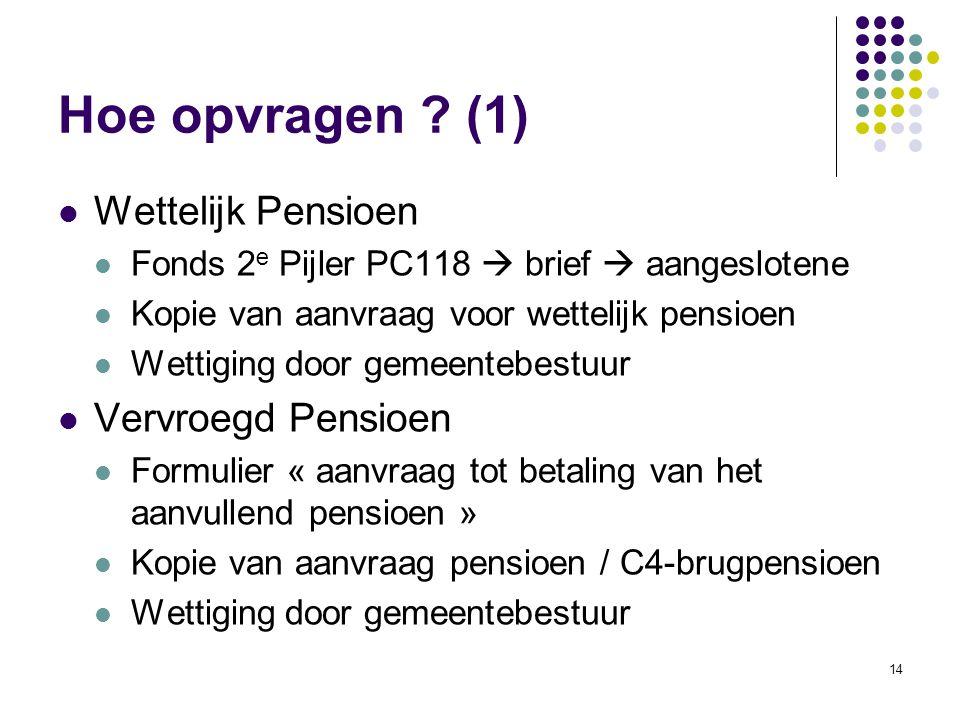 Hoe opvragen (1) Wettelijk Pensioen Vervroegd Pensioen