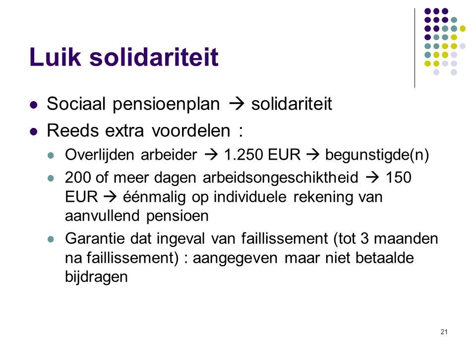 Luik solidariteit Sociaal pensioenplan  solidariteit