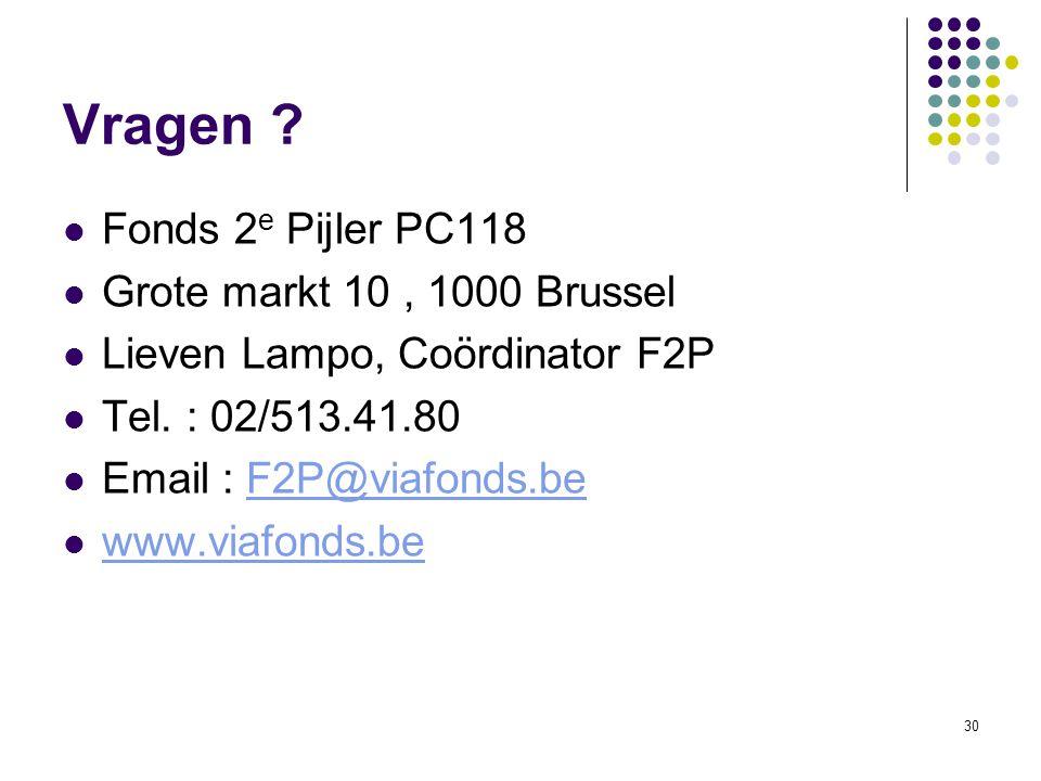 Vragen Fonds 2e Pijler PC118 Grote markt 10 , 1000 Brussel