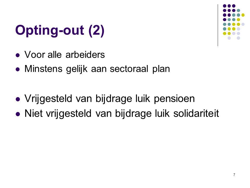 Opting-out (2) Vrijgesteld van bijdrage luik pensioen
