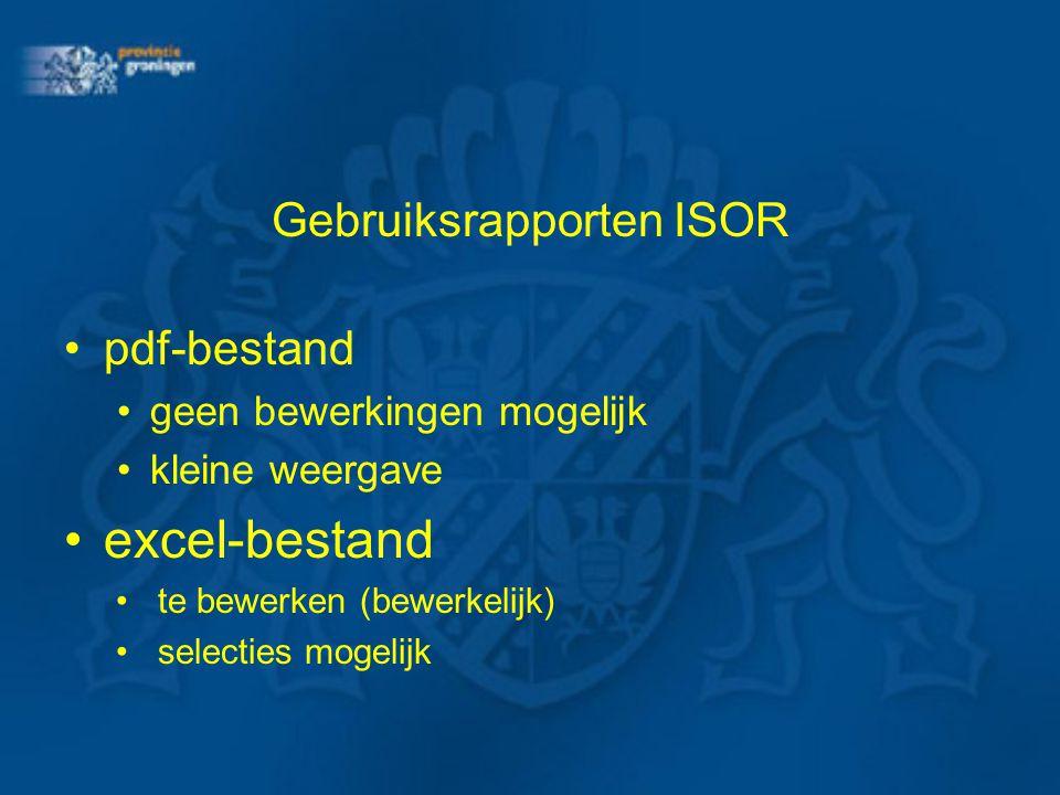 Gebruiksrapporten ISOR