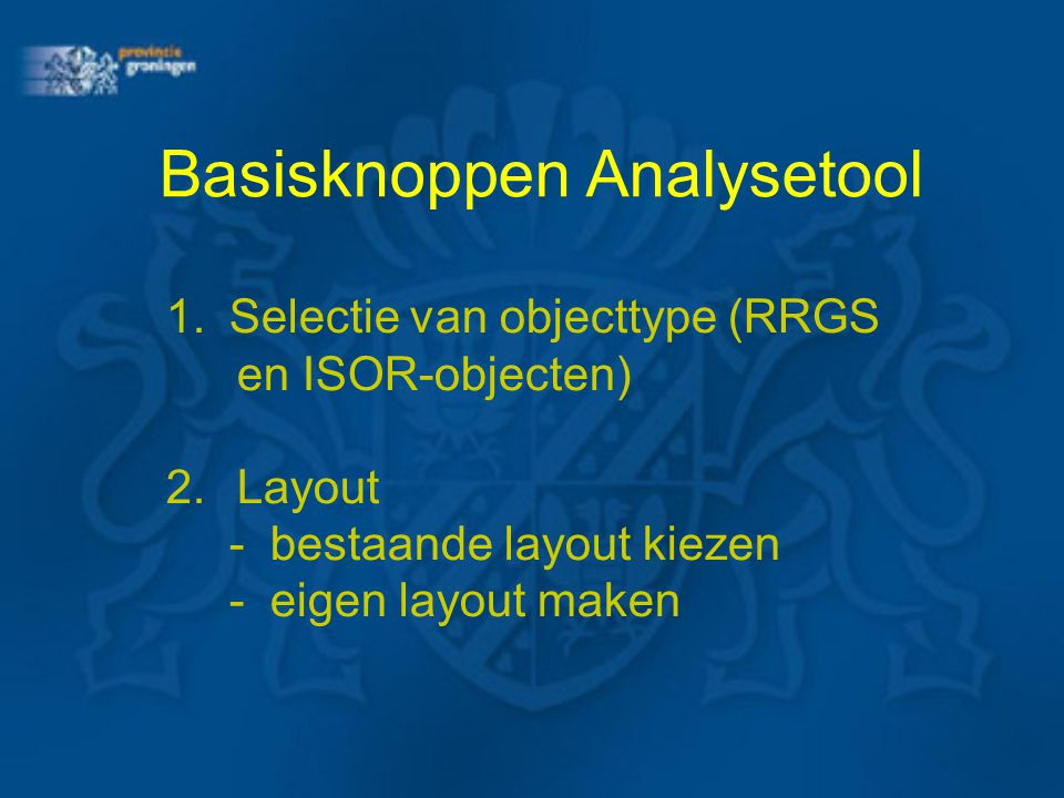Basisknoppen Analysetool
