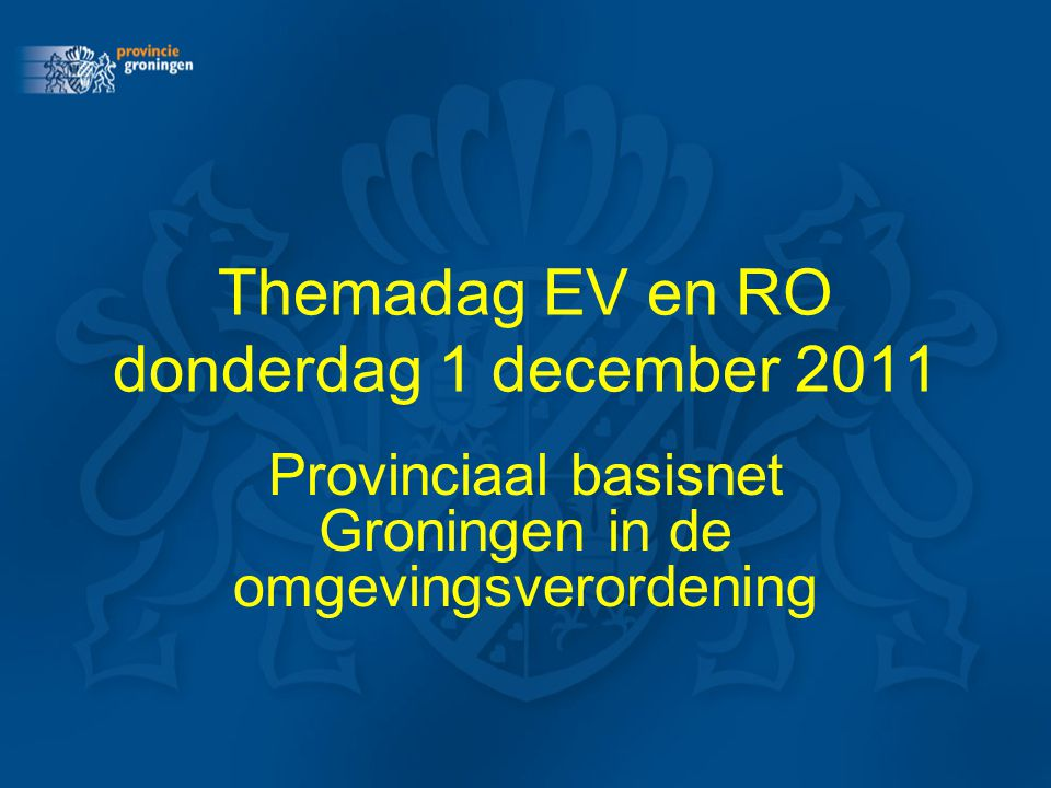 Themadag EV en RO donderdag 1 december 2011