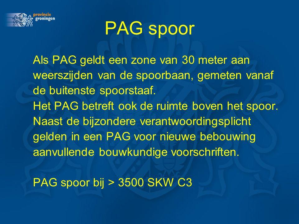 PAG spoor Als PAG geldt een zone van 30 meter aan