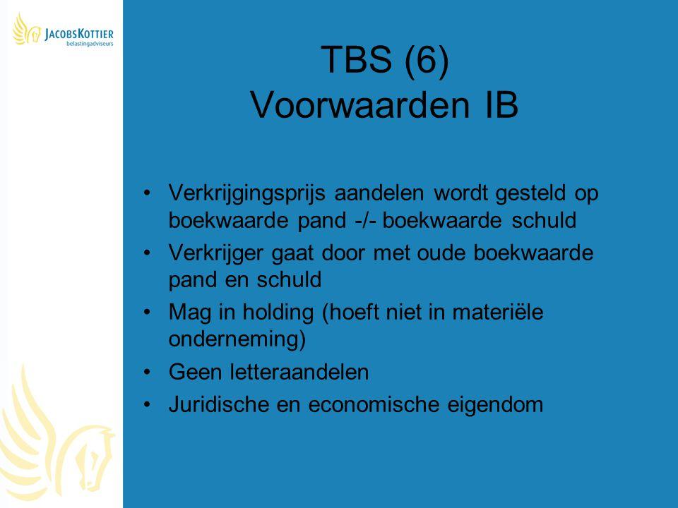 TBS (6) Voorwaarden IB Verkrijgingsprijs aandelen wordt gesteld op boekwaarde pand -/- boekwaarde schuld.