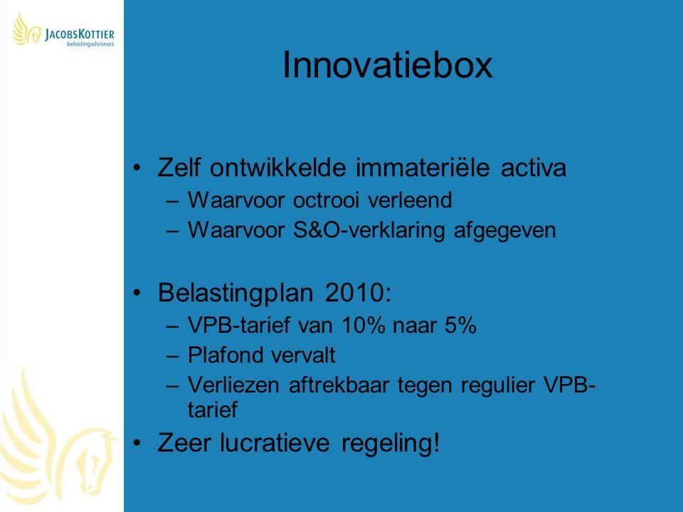 Innovatiebox Zelf ontwikkelde immateriële activa Belastingplan 2010: