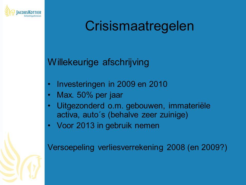 Crisismaatregelen Willekeurige afschrijving
