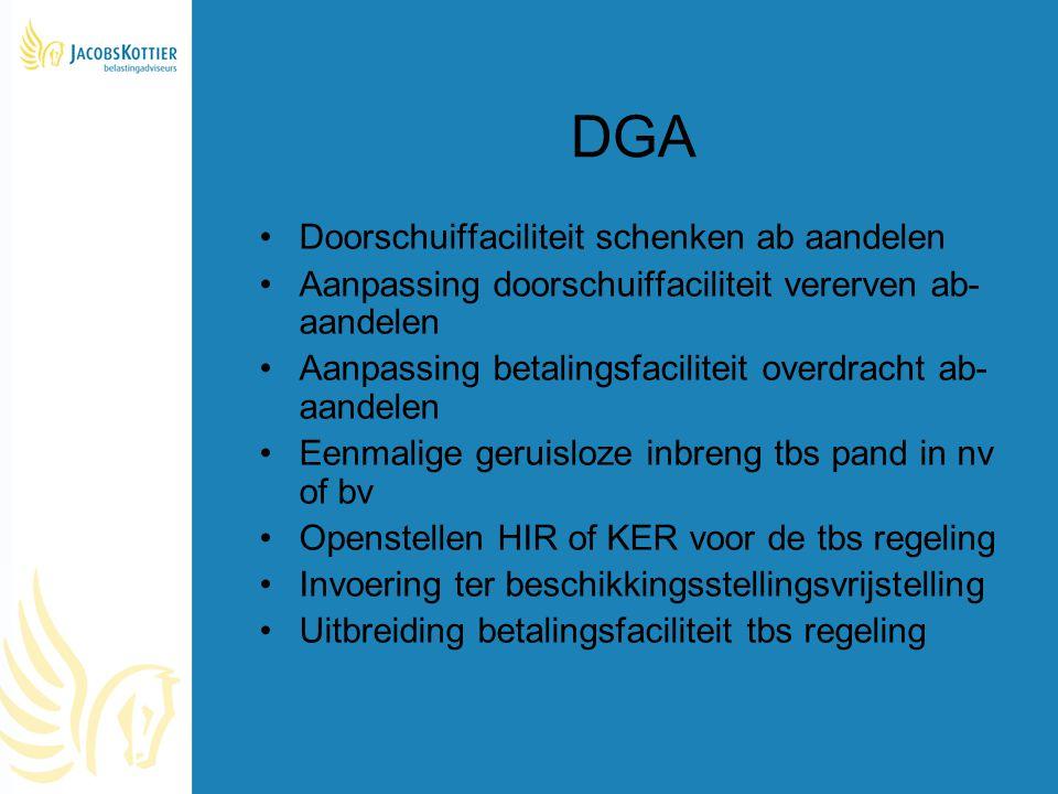 DGA Doorschuiffaciliteit schenken ab aandelen