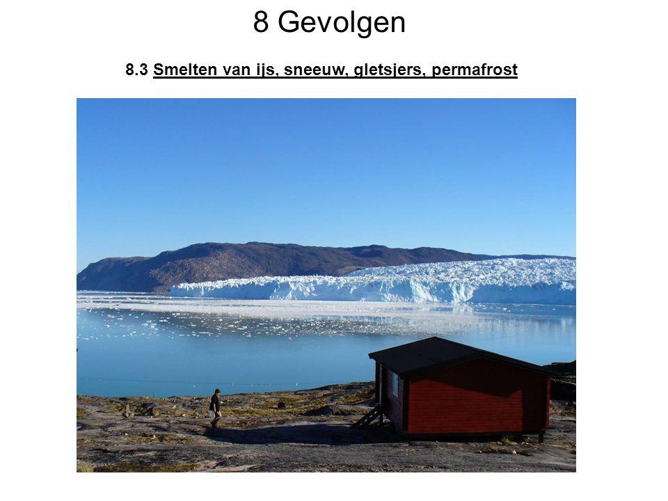 8 Gevolgen 8.3 Smelten van ijs, sneeuw, gletsjers, permafrost