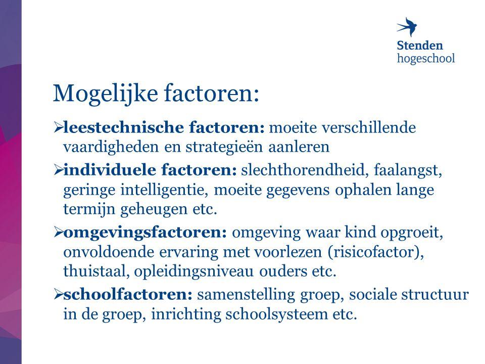 Mogelijke factoren: leestechnische factoren: moeite verschillende vaardigheden en strategieën aanleren.