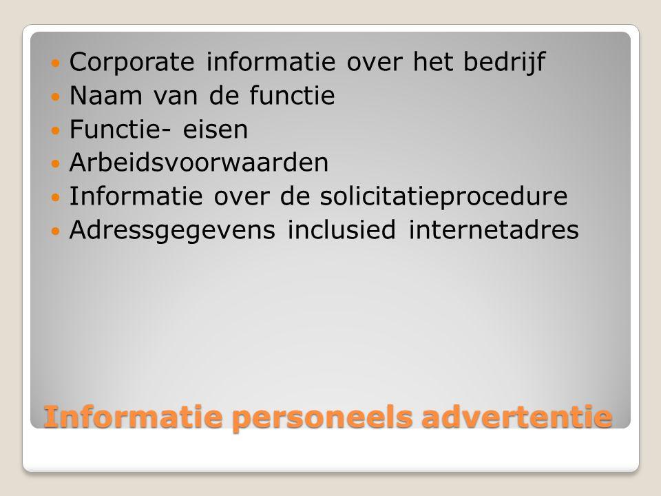 Informatie personeels advertentie