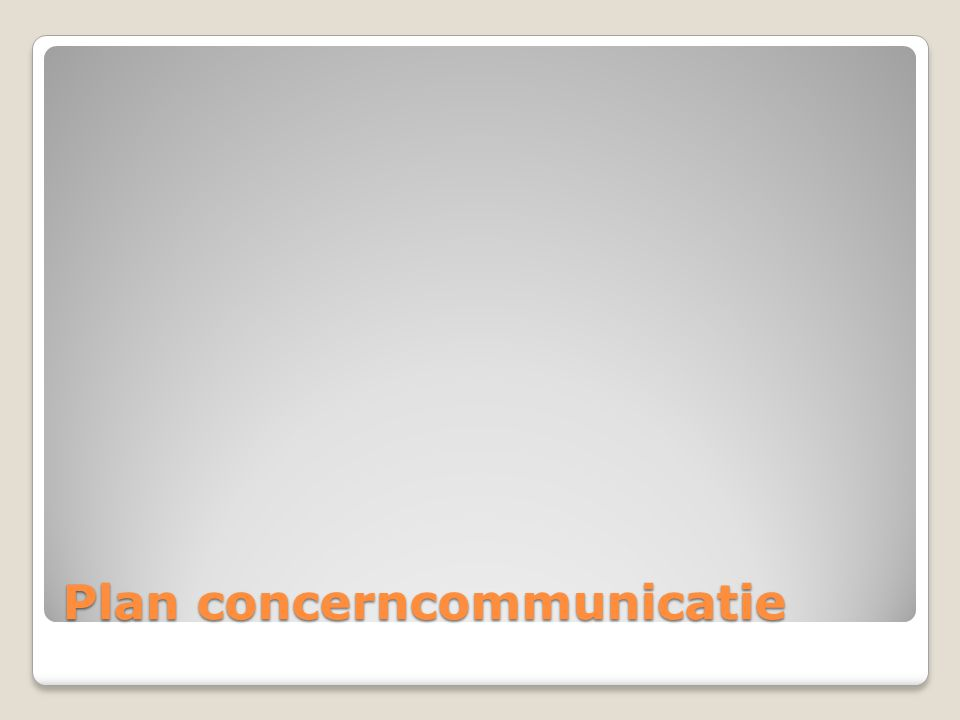 Plan concerncommunicatie
