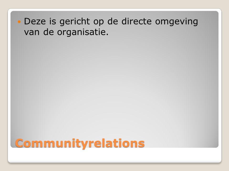 Deze is gericht op de directe omgeving van de organisatie.