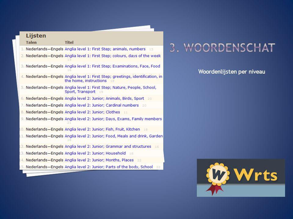 3. Woordenschat Woordenlijsten per niveau
