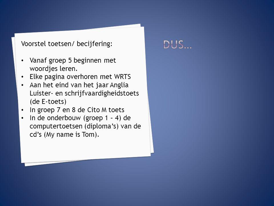DUS… Voorstel toetsen/ becijfering: